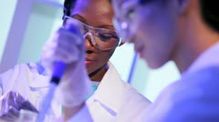 Female Pharmaceutical Researchers Modern Laboratory Stock Footage