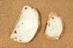 Two slices of bread pinned to corkboard - stock photo
