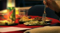 Eating Paper plate banquet Stock Footage