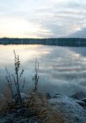 Calm lake in twilight - stock photo