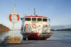 Lifebuoy and a moored ship - stock photo