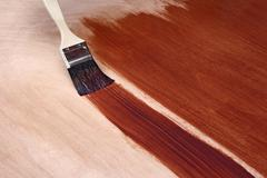 Painting with brown paint - stock photo