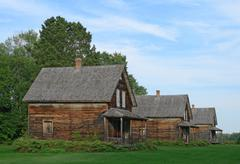 Old wooden country houses Stock Photos