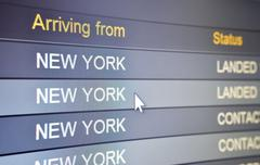 arriving from new york - stock photo