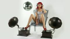 gogo dancer gramophones 4k - stock footage