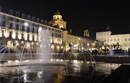 Piazza castello in turin at night Stock Photos