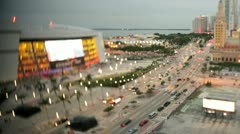 Downtown Miami tilt shift effect Stock Footage