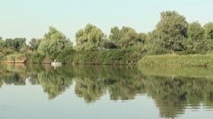 Sky river panorama zoom out Stock Footage
