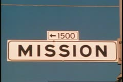 San Francisco, 1970's, Mission Street street sign, close up Stock Footage