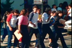 San Francisco, 1970's, The Mission District, group of young students walking Stock Footage