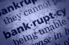 Word bankruptcy in glossary, super macro Stock Photos