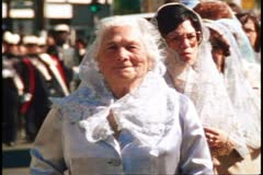 San Francisco, 1970's, Columbus Day, procession, regal old women, pass by Stock Footage
