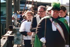 San Francisco, 1970's, Columbus Day Festival, priest, blessing of the fleet Stock Footage