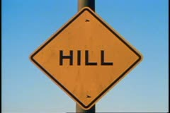 "San Francisco, 1970's, Traffic on the hills, close up of sign that says ""Hill"" Stock Footage"