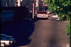 San Francisco, 1970's, Traffic on the hills, truck climbs up steep hill, close Stock Footage