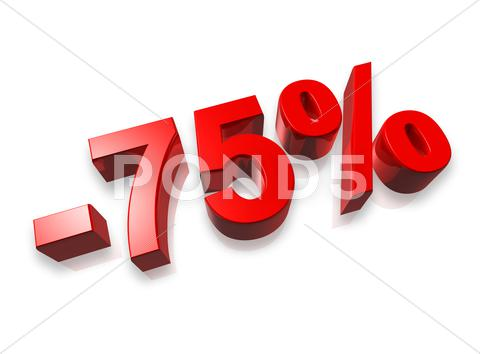 Stock photo of 75% seventy five percent