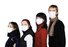 people in masks, ill flu - stock photo