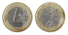 One euro coin (italy) Stock Photos