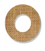 "the letter ""o"" is made of coarse cloth. - stock photo"