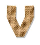 "the letter ""v"" is made of coarse cloth. - stock photo"