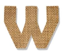 "the letter ""w"" is made of coarse cloth. - stock photo"