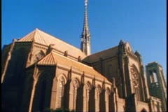 Grace Cathedral atop Nob Hill in San Francisco, 1970's Stock Footage