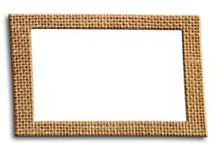 frame from burlap with isolated inner space - stock photo
