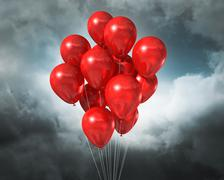 Red balloons on a cloudy dramatic sky Stock Illustration