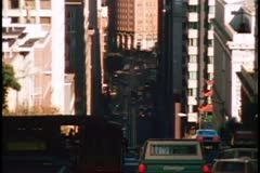 San Francisco, 1970's, California Street, cable car, one tower of Bay Bridge Stock Footage