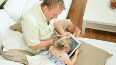 Caucasian Father Young Child Wireless Tablet - stock footage