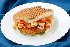 one sandwich of hamburger fast food - stock photo