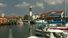 Little Harbour With Lighthouse On Poel Island - Baltic Sea, Northern Germany Stock Footage