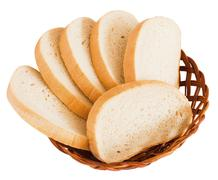 Few slice of bread on white background Stock Photos