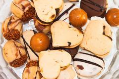 Cookies mix. chocolate, nuts cookies. Stock Photos