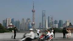 Wedding Shooting in Shanghai Skyline Pudong, Photographer, Asian Marriage, China Stock Footage