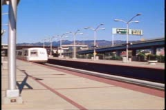 BART train passes in San Francisco, 1970's Stock Footage