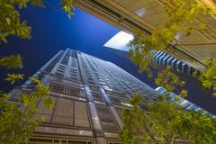 Skyscrapers at night Stock Photos