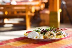 gourmet food shot with restaurant background. proper for menu design - cover  - stock photo
