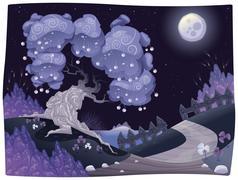 Stock Illustration of bucolic nightly landscape on the sea.
