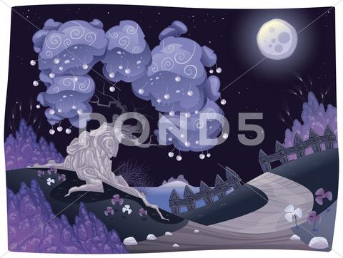 Stock Illustration of bucolic nightly landscape on the sea.