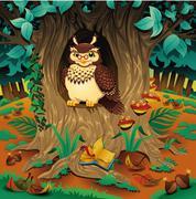 scene with owl. - stock illustration