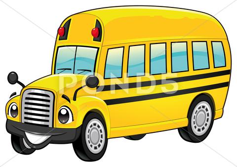 Stock Illustration of funny school bus.