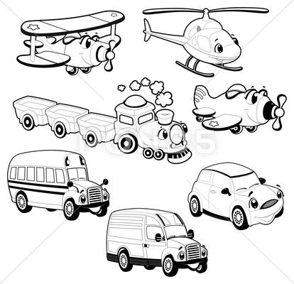 Stock Illustration of funny vehicles in outline.