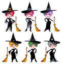 Stock Illustration of set of funny witches.