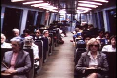 San Francisco, 1970's, BART, subway, interior of coach with people Stock Footage
