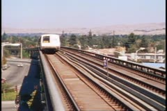 San Francisco, 1970's, Bart, subway, train passes by, no people Stock Footage