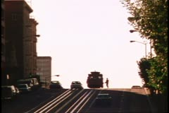 Nob Hill with the California Street cable car in San Francisco, 1970's Stock Footage