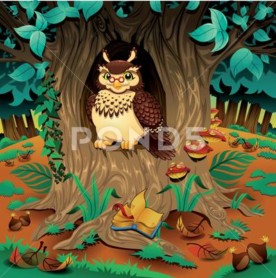 Stock Illustration of scene with owl.