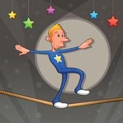 funny equilibrist is walking on the tightrope. - stock illustration