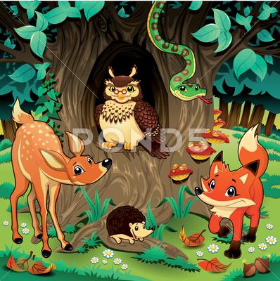 Stock Illustration of animals in the wood.